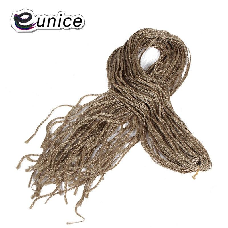 Eunice Crochê Tamanho Pequeno Caixa de Tranças de Cabelo 28 fios/pack Longo 28 Polegada de Alta Temperatura Fio Sintético Cabelo Preto loira #613