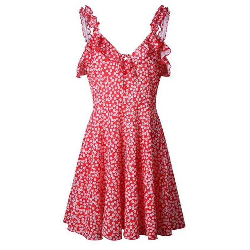 CHAMSGEND của Phụ Nữ Váy 2018 Phụ Nữ Mùa Hè Không Tay Sundresses V Cổ Backless In Ấn Ăn Mặc Bên Buổi Tối Ăn Mặc l0306