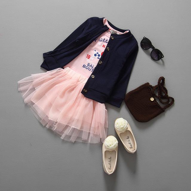 3 UNIDS Girls Juego de Los Niños Ropa de Otoño Niños Del Perrito de Impresión T camisa de Punto Cardigan Falda Conjuntos Niños Set Muchachas de La Manera ropa