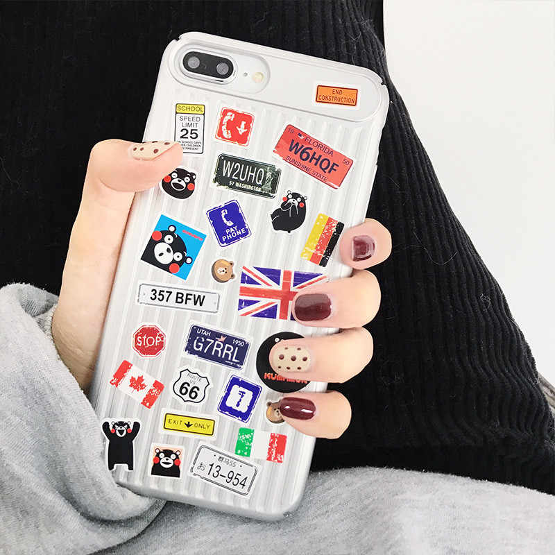 bed136aaed ... Fashion DIY stickers Couple Phone case For iphone 7 7puls Slim Pc Hard  Matte Back cover ...