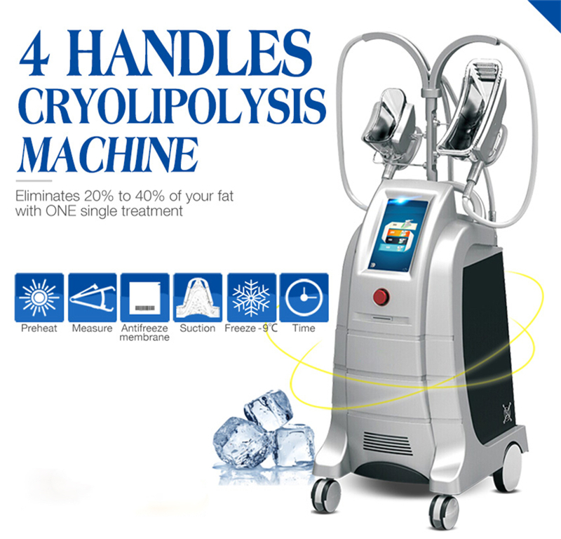 Two Cryo Handles Work At The Same Time Cool Sculpting Cryotherapy  Fat Freezing Slimming Machine CE
