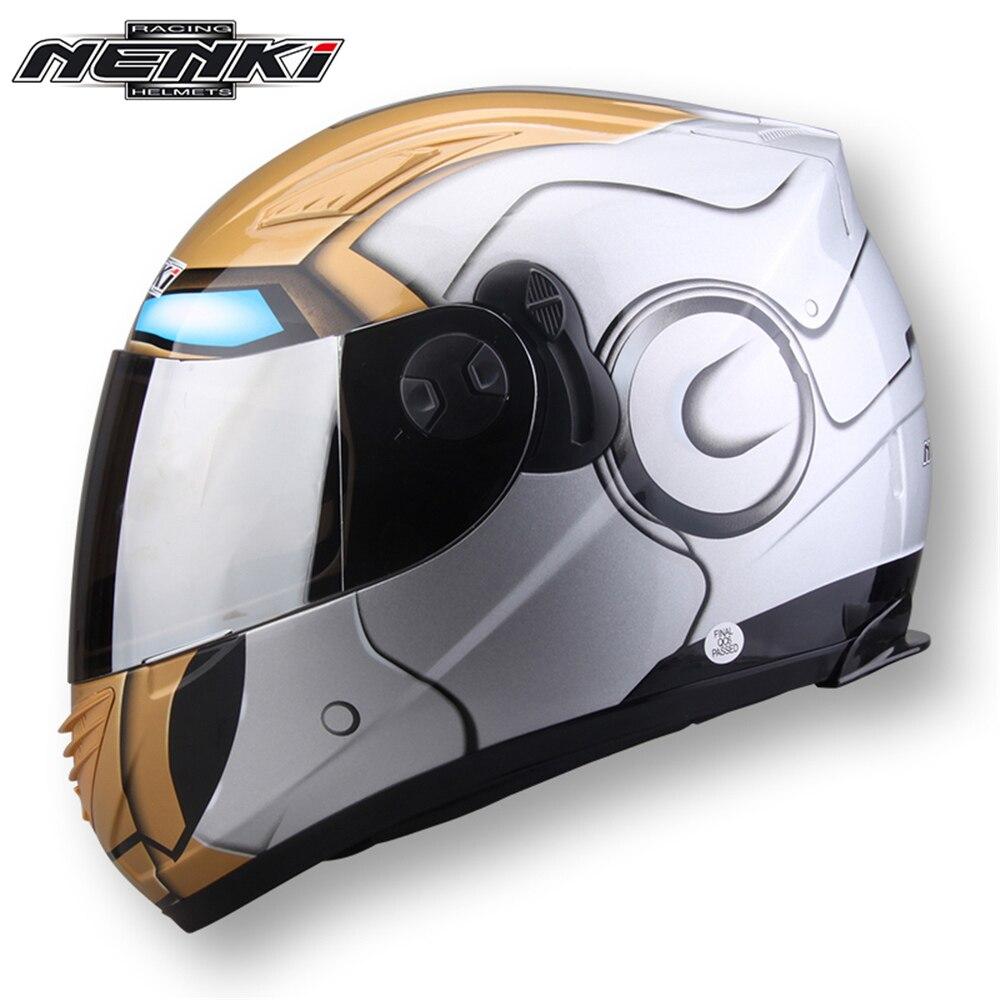 NENKI Motorcycle Full Face Riding Helmet Motorbike Street Motor Touring Scooter Racing Helmet with Dual Visor Sun Shield Lens