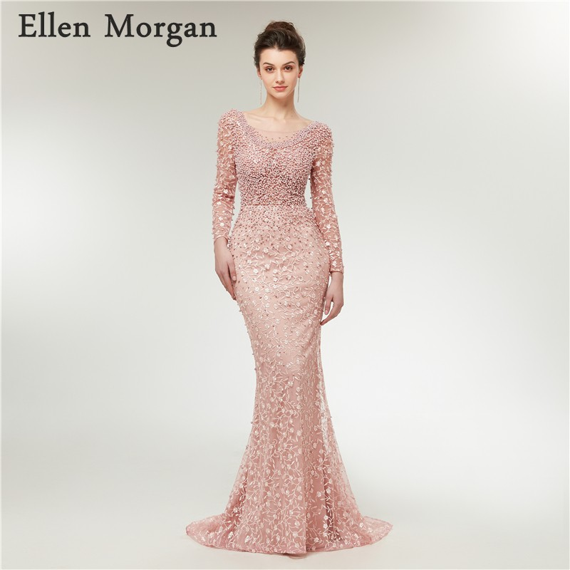 637f8a5124 Elegant Long Sleeves Mermaid Evening Dresses 2019 Moroccan Dubai Caftan  Custom Made Lace Pearls ...