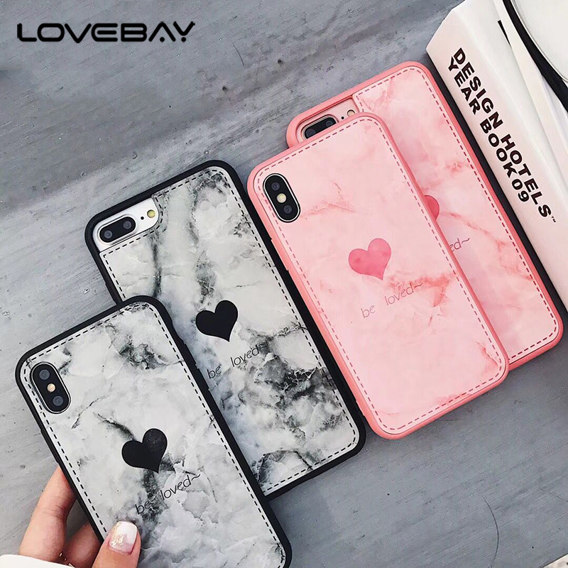 Galleria fotografica Lovebay Phone Case For iPhone X 8 7 6 6s Plus Cartoon Lovely Love Heart Pink Letter Couples Back Cover Cases For iPhone X Coque