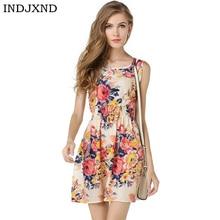 INDJXND летнее платье дамы печати повседневное женский стиль модные офисные женская одежда Дешевые богемный пляжное платье без рукавов