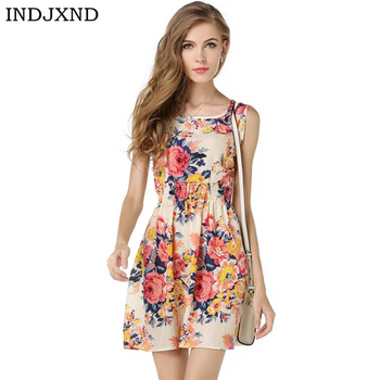 INDJXND Summer Dress 2020 Ladies Print Casual Female Style Fashion Office Women Clothing Cheap Bohemian Beach Sleeveless Dress 2019 summer style women clothing plus size women beach dress fluorescence female summer dress chiffon voile women dress