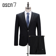 OSCN7 Black 2-piece Slim Fit Suits Men Notch Lapel Business Wedding Groom Leisure Tuxedo 2017 Single Breast S-4XL (blazer pant)