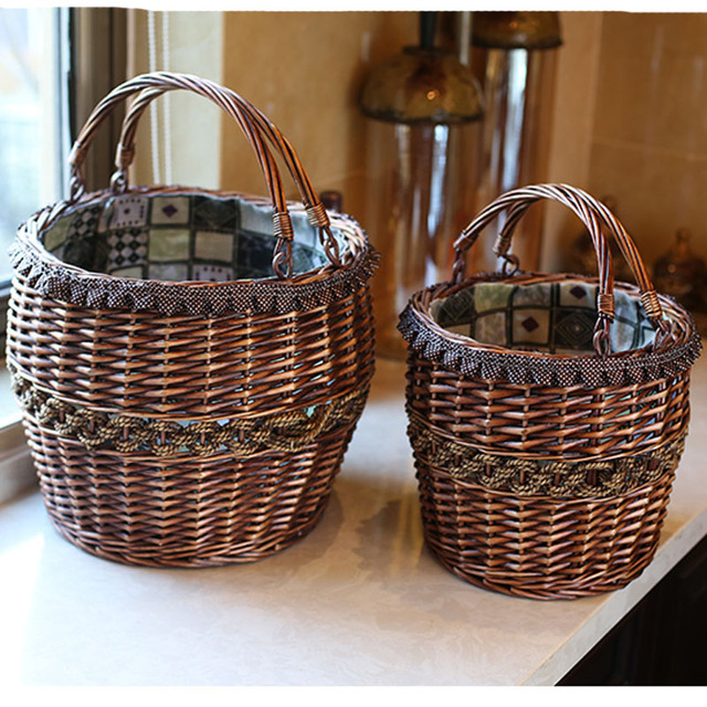 Handmade Vintage Wicker Laundry Basket Home Decoration Storage Baskets For Toys Flowers Fruits Rattan