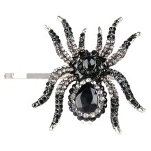 Bella мода черный паук зажим для волос австрийский хрусталь горный хрусталь зажим для волос посеребренная женщины аксессуар партия ежедневно jewlelty