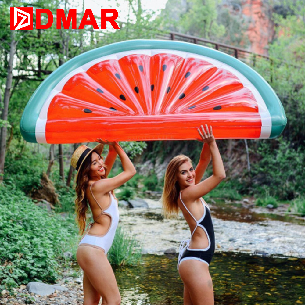 DMAR Giant Inflatable Mattress Watermelon Pool Float Sunbathe Beach Mat Air Swimming Ring Swimming Circle Beach Sea Party Toys 1 2m shell swimming float adults giant pool float pearl scallops inflatable funny aquatic toys air mattress swim life buoy