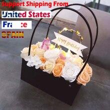 Cajas de Regalo de flores de ramo de PVC, jarrones de salón redondos, caja de floristería, cajas de plantas de flores de regalo, bolsas de regalo con asas