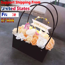 PVC Bouquet Flower gift Boxes Round Living Vases Florist Box Flower Plant Boxes Gift flower box gift bags with handles(China)