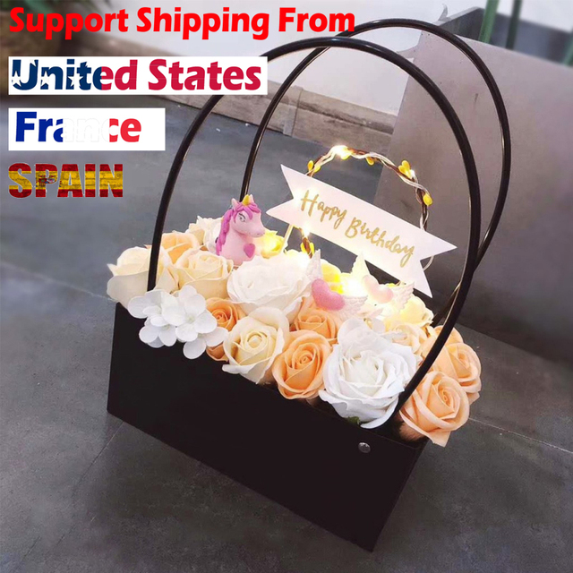 PVC Bouquet Flower gift Boxes Round Living Vases Florist Box Flower Plant Boxes Gift flower box  gift bags with handles