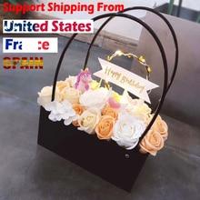 PVC זר פרח מתנת קופסות עגול סלון אגרטלי פרחים תיבת פרח צמח קופסות מתנה פרח קופסא מתנת שקיות עם ידיות
