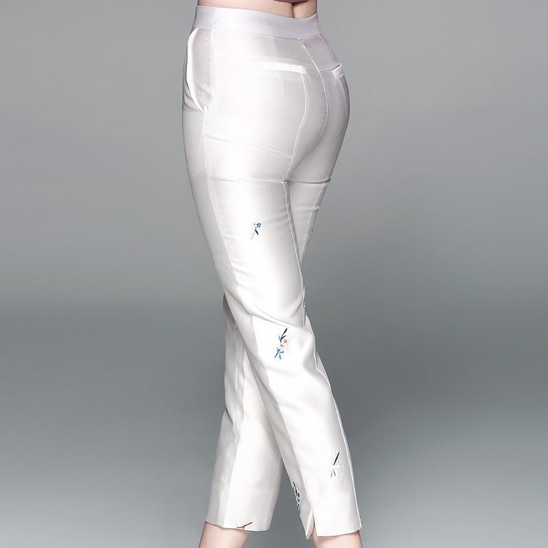 Mujeres 80831 Casual apricot Color Pantalones Capris Nuevo La Verano Longitud amp; Rectos De Azul Blanco Cielo Tobillo Del Cintura Mediados Las 2018 Bordado Diseño xw1Ww4qSXA
