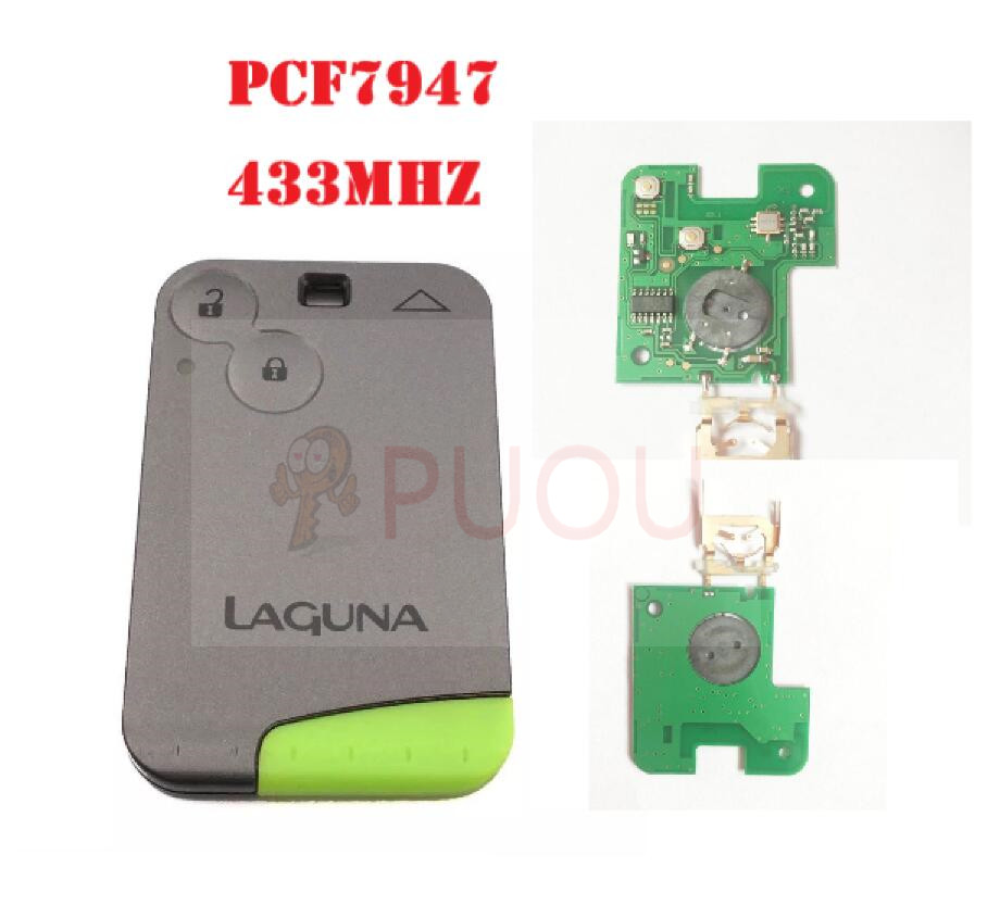 2 Buttons Smart Remote Key PCF7947 Chip 433Mhz For Renault Laguna Espace Smart Card Remote(China)