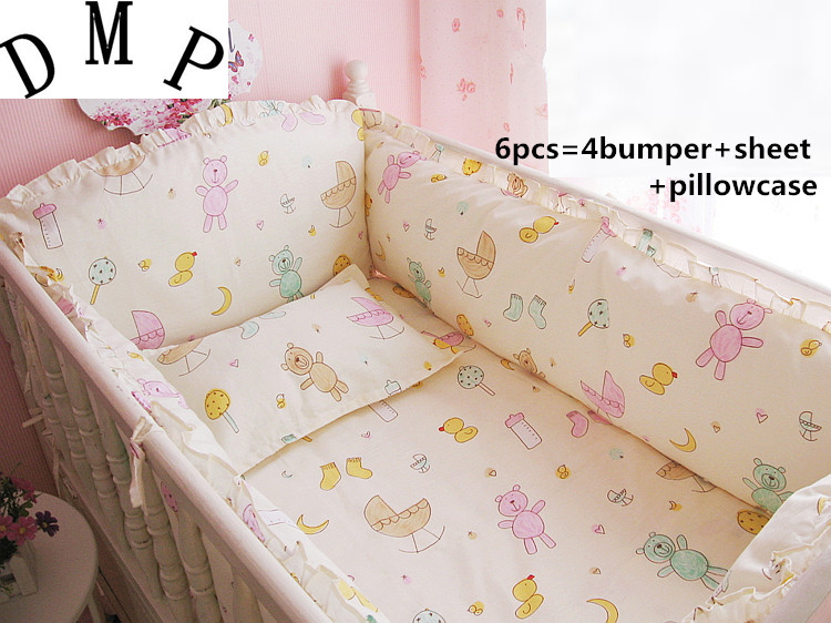 Promotion! 6PCS Baby Crib bedding Sets Applique bed linen Sheet Dust Ruffle,include (bumpers+sheet+pillow cover) lace applique ruffle top