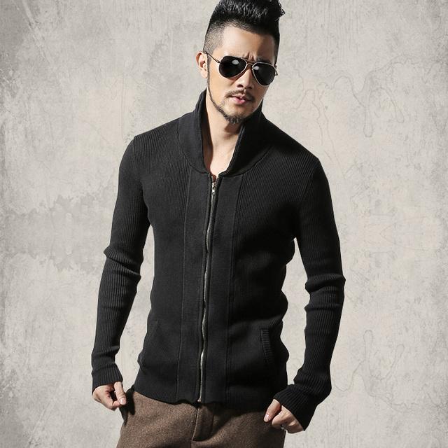 2016 otoño nueva moda suéter hombres ropa de la marca Para Hombre de la cremallera chaqueta de punto Masculino textura suéter Solapa J602
