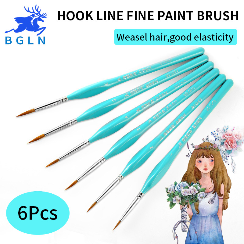 BGLN 6Pcs/set Weasel Hair Hook Line Pen Fine Watercolor Paint Brush For Drawing Art Gouache Oil Painting Brush Art Supplies bgln 7pcs set mix hair nylon weasel hair professional watercolor paint brush watercolor painting brush stationery art supplies