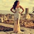 2016 Sexy Crystals Mermaid Long Evening Dress V Neck Floor-Length Abendkleider Vestidos De Fiesta Robe De Soiree Prom Dress