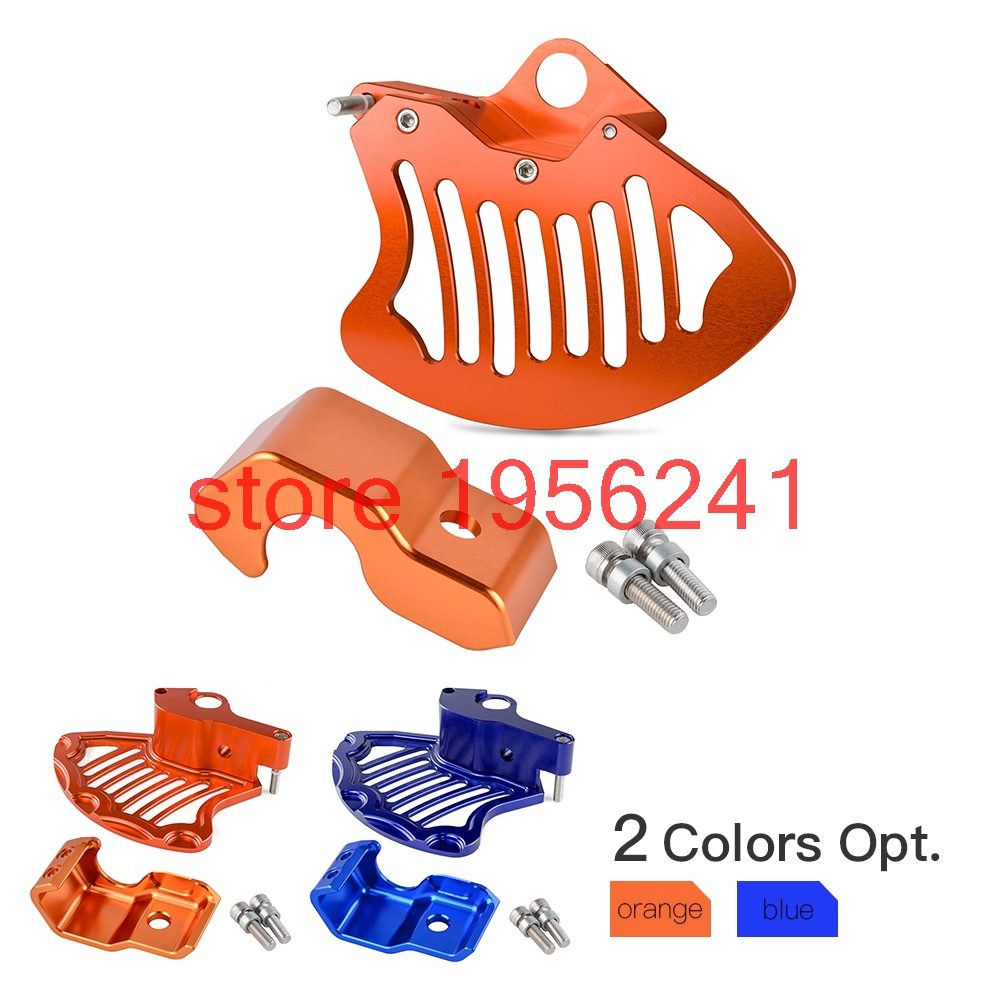Front Brake Disc Rotor Guard & Lower Right Fork Leg Protector For KTM 125 200 250 300 350 400 450 500 525 530 XCW XCFW EXC 2015 motorcycle front rider seat leather cover for ktm 125 200 390 duke