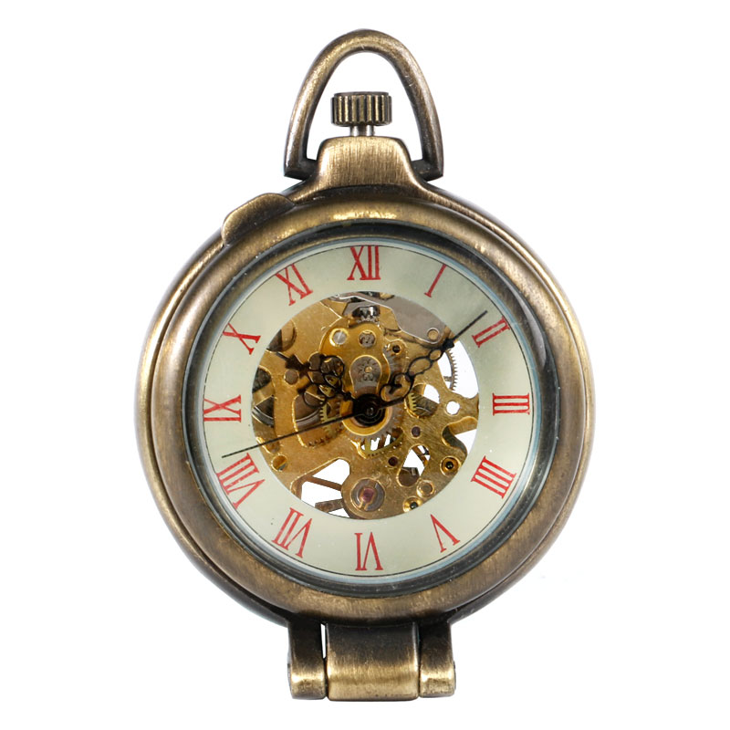 Fob Pocket Watch Mechanical Hand-wind Unique Clamshell Transparent Bronze Special Time Unisex Christmas Gift Relogio De Bolso