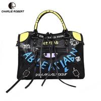 2018 New Hot Luxury Graffiti Handbags Women Bags Designer Zipper Letter PU Fashion Versatile Shoulder & Crossbody Bags Flap