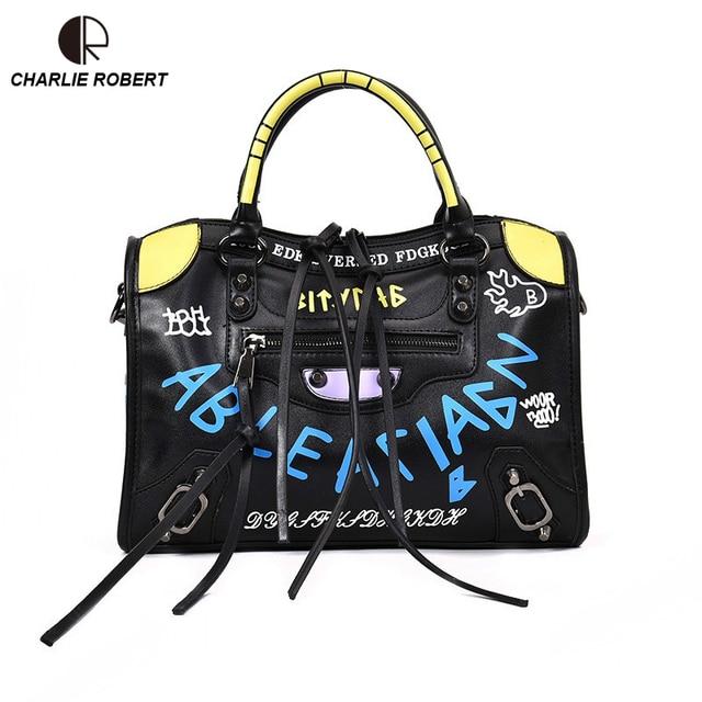2019 New Hot Luxury Graffiti Handbags Women Bags Designer Zipper Letter Pu Fashion Versatile Shoulder Crossbody Flap
