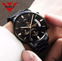 NIBOSI Relogio Masculino Men Watches Top Brand Luxury Fashion Business Quartz Analog Watch Men Sport Steel