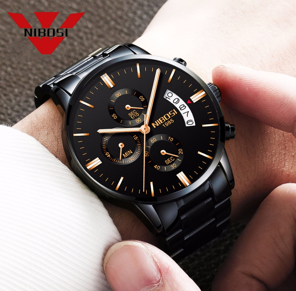 NIBOSI Relogio Masculino Men Watches Top Brand Luxury Fashion Business Quartz Analog Watch Men Sport Steel Waterproof Wristwatch relojes hombre 2018 nibosi dress brand watch men waterproof men s quartz watch business analog wristwatch stainless steel saat