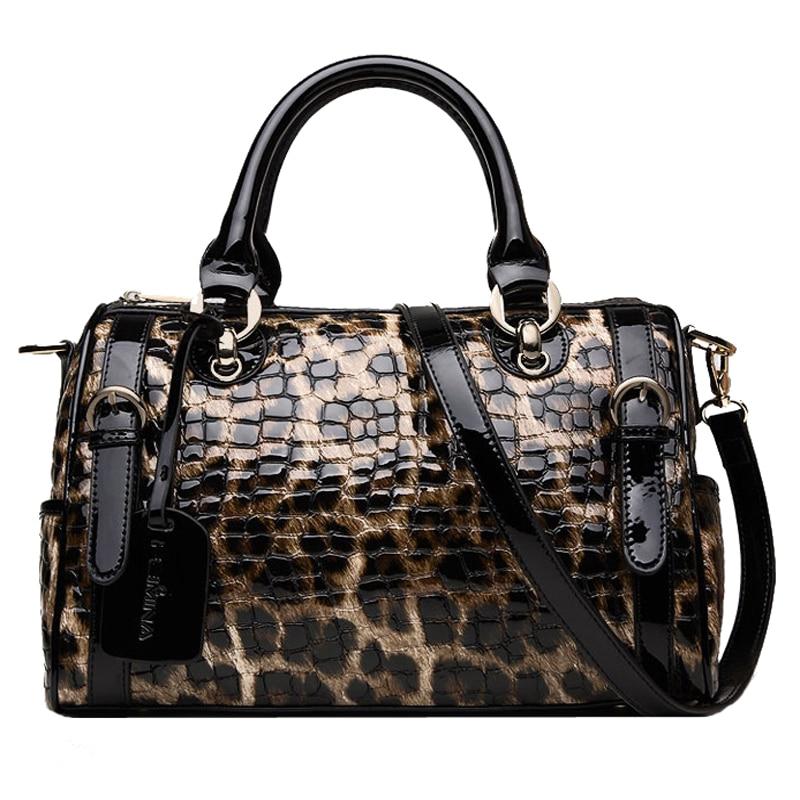 Fashion Leopard Pattern Printed Genuine Leather Women Handbags Cowhide Big Tote Bag ladies' Shoulder Bag Female Messenger Bags