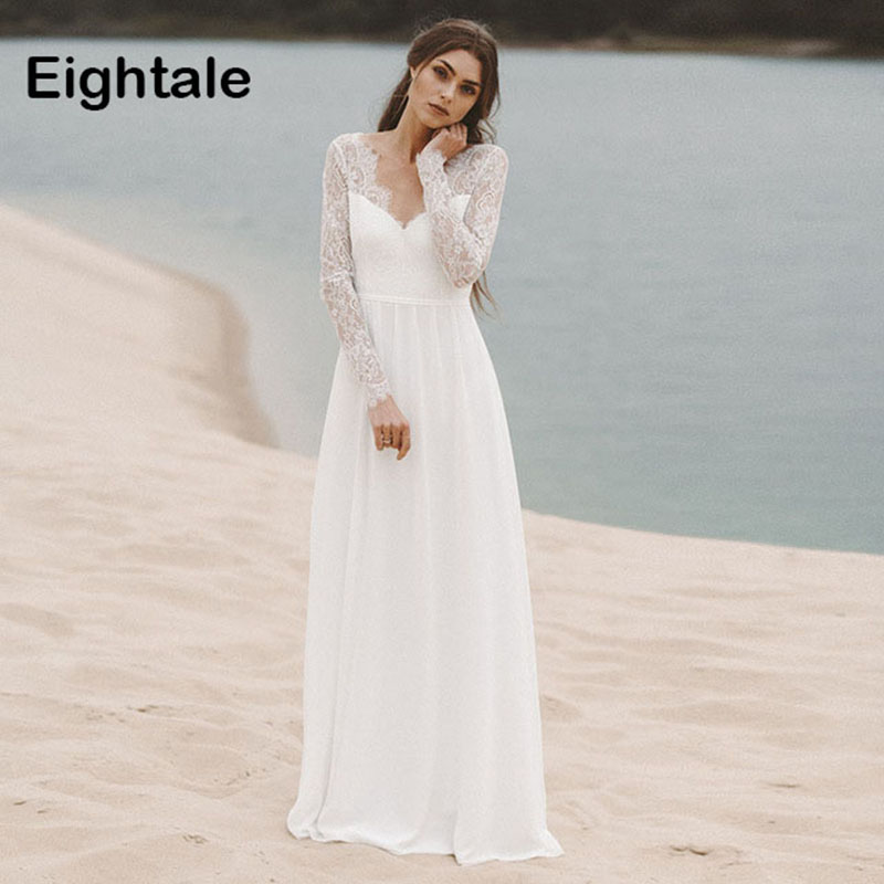Eightale Beach Wedding dresses 2019 With Long Sleeves V Neck A Line Lace bridal dresses Princess Chiffon Boho Wedding Gown