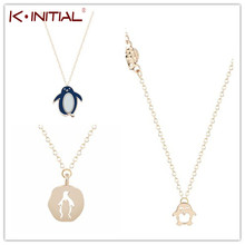 Kinitial 10Pcs Wholesale Gold Silver Cute Penguin Enamel Pendant Necklace for Bird Animal Lover Long Necklaces BFF For Jewelry