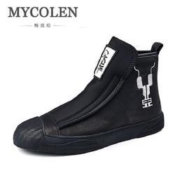 MYCOLEN Homens Ankle Boots de Couro Botas de Marca Homem De Couro Genuíno de Alta Top Sapatos de Outono Inverno Ao Ar Livre Sapatos Casuais Homens