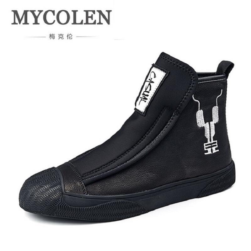 MYCOLEN Véritable En Cuir Hommes Cheville Bottes Marque Martin Bottes Homme En Cuir de Haute Top Chaussures Automne Hiver En Plein Air Casual Chaussures Hommes
