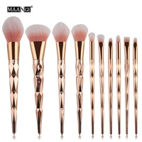 10pcs Makeup Brushes Set Spiral Handle Diamond Handle Cosmetic Foundation Blusher Powder Blending Brush Beauty Tools