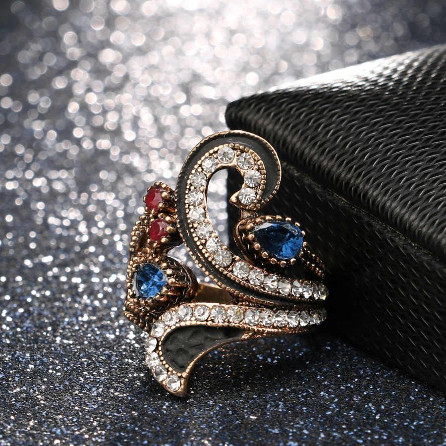 Panas Vintage Cincin untuk Wanita Warna Emas Punk Turki Perhiasan Warna-warni Resin Hitam Enamel Pesta Hadiah Aksesoris 2017 Baru