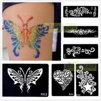 1pc Mehndi Henna Glitter Temporary Tattoo Stencil Paper Template Body Art Henna Art Paint Airbrush Paste Flower Star Heart Totem