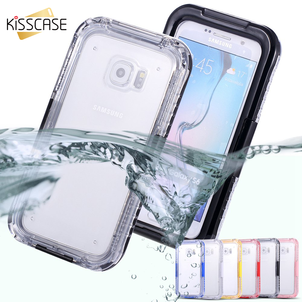 KISSCASE For Galaxy S3 S4 S5 S6 Edge Plus Case Transparent Waterproof Surfing Sports Cover For Samsung Galaxy S3 S4 S5 S6 Note 5