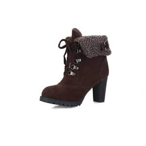 Image 2 - MORAZORA 2020 sıcak satış kar botları kadın akın rusya sıcak tutmak sonbahar kış çizmeler dantel up yüksek topuklu yarım çizmeler için kadın ayakkabı