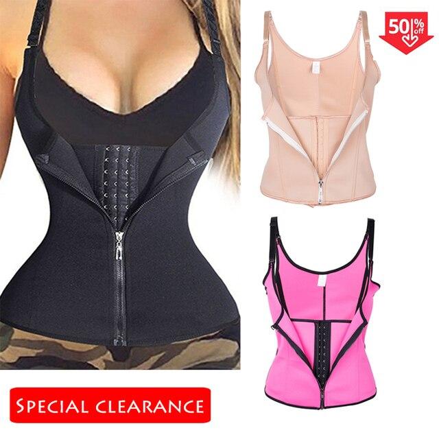 Frauen Taille Trainer Körper Shaper Workout Taille Korsett Bauch Cincher Control Weste Zipper Unterbrust Korsetts und Bustiers XS 4XL