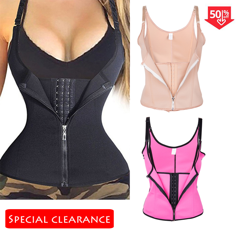 Women Waist Trainer Body Shaper Workout Waist Corset Tummy Cincher Control Vest Zipper Underbust  Corsets And Bustiers XS-4XL