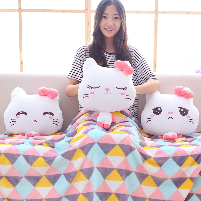 Plush Cat Portable Blanket Hand warm Stuffed Toy Doll Baby Shower Car Air Condition Travel Rug Office Nap Carpet Birthday Gift/3 gift fruit style watermelon pineapple grapes mcdull pig soft coral velvet baby blanket cushion hand warm stuffed toy gift 1pc