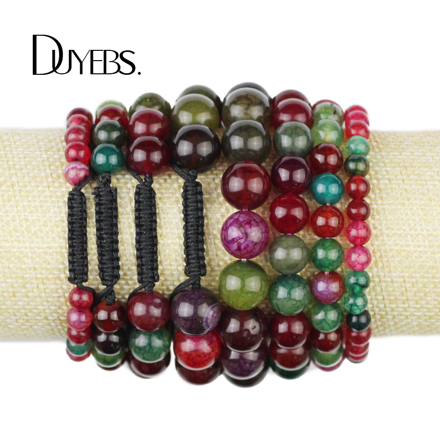 DUYEBS Fashion Women beads Bracelet Natural Stone 6/8/10/12MM Tourmaline carnelian Braided/Elastic Rope Bracelets Men jewelery