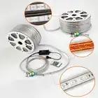 Распродажа 10 м 110 В/220 В Высокое напряжение SMD 5050 RGB Светодиодная лента Водонепроницаемая + ИК пульт дистанционного управления + источник питания - 2