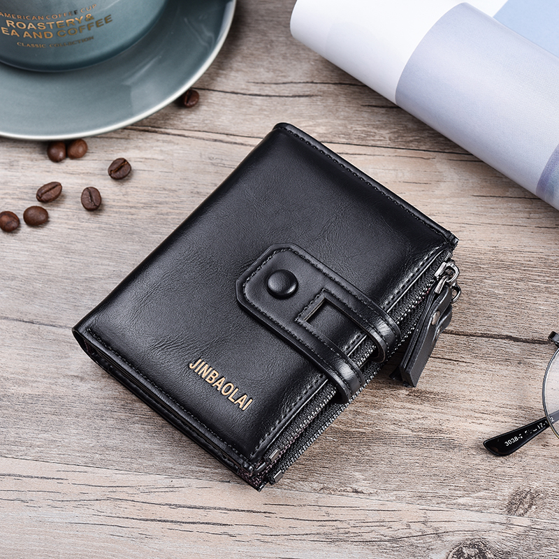 HTB1tCTkKeuSBuNjy1Xcq6AYjFXaU - JINBAOLA Men Wallet Brand Wallet Double Zipper&Hasp Design Small Wallet Male High Quality Short Card Holder Coin Purse Carteira
