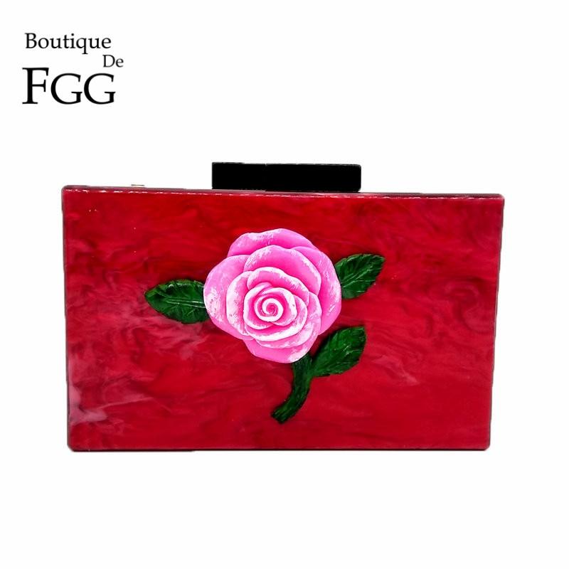 Boutique De FGG 3D Flower Rose Appliques Women Fashion Hardcase Acrylic Evening Bag Box Clutch Purse Party Dinner Handbag