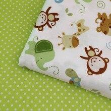 100*160 cm 100% baumwoll-twill frische cartoon tiere grüne punkte für DIY kinder bettwäsche kissen vorhänge zelt handarbeit stoff tuch