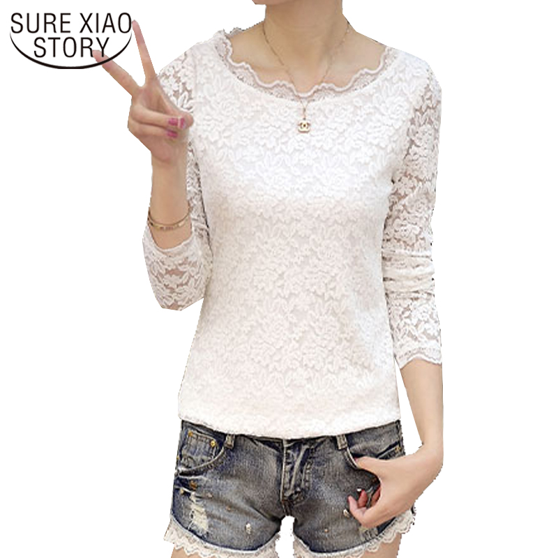 2018 New Women Clothing Lace Shirt Autumn Fashion Long Sleeve Blouses Office Lady Style Solid O-neck Slim Female Blouses D240 30
