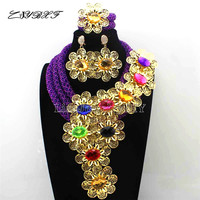 Nigerian Purple Crystal Statement Necklace Set Wedding African Multicolour Flower Jewelry Set for Women Free Shipping L1116